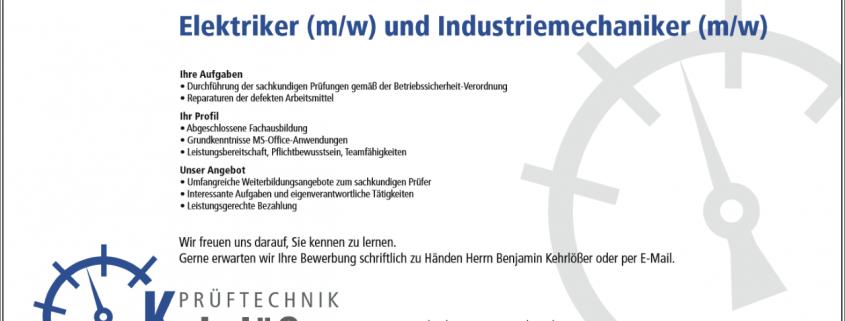 Elektriker (m/w) und Industriemechaniker (m/w)   Kehrlößer Prüftechnik