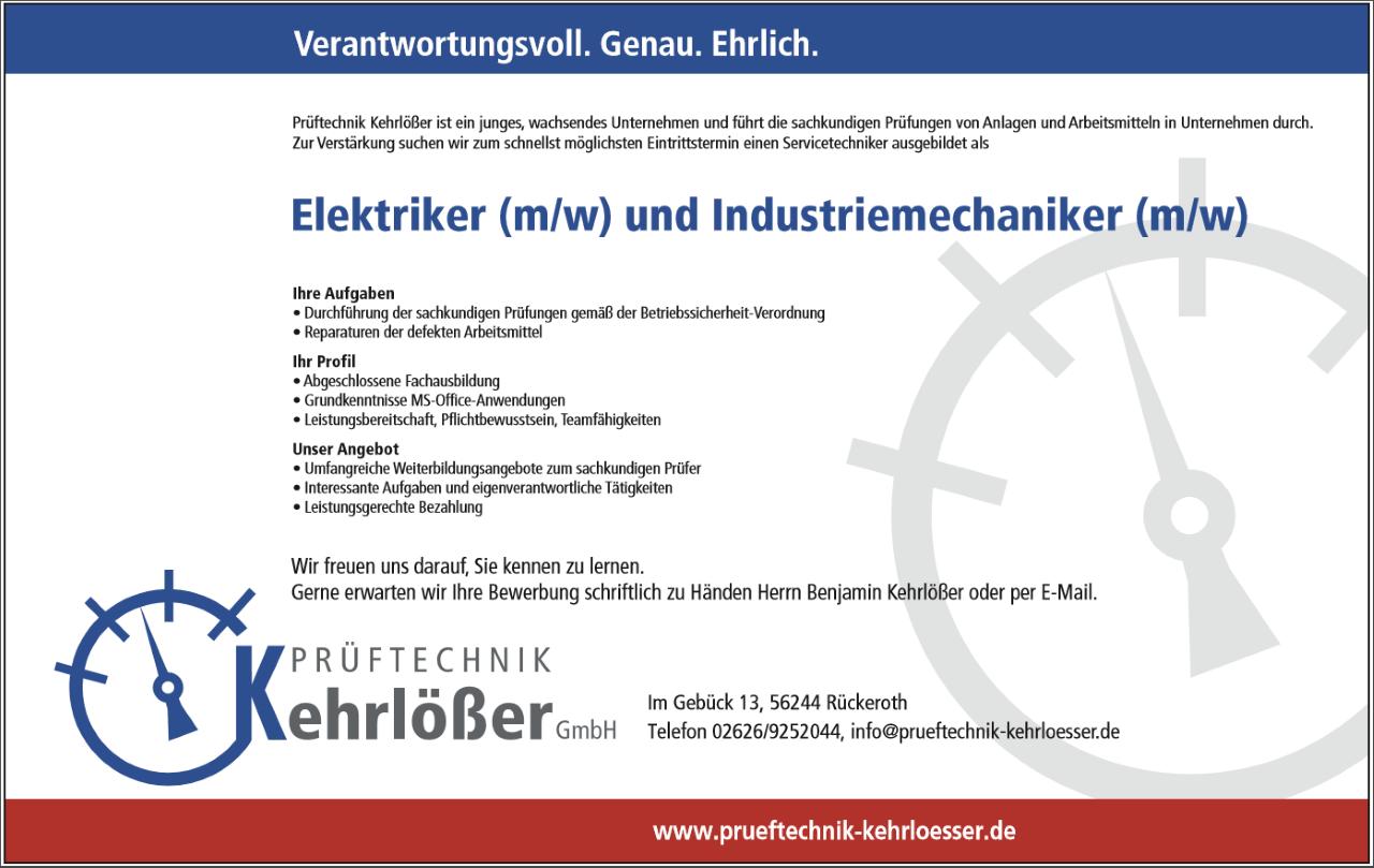 Elektriker (m/w) und Industriemechaniker (m/w) | Kehrlößer Prüftechnik