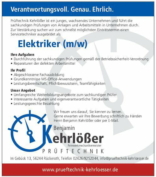 Elektriker (m/w) | Kehrlößer Prüftechnik